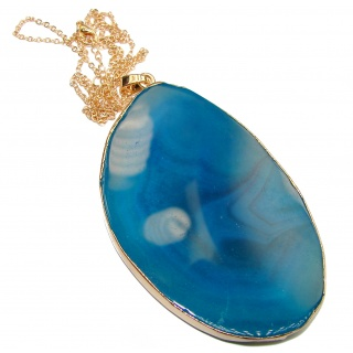 Oversized genuine Botswana Agate .925 Sterling Silver handcrafted necklace