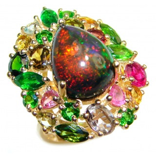 Vintage Design Genuine Black Opal 24K Gold over .925 Sterling Silver handmade Ring size 7
