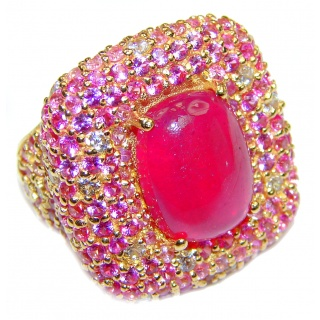 Large Genuine 20ctw Ruby Diamnond 24K Gold over .925 Sterling Silver handcrafted Statement Ring size 7 1/4