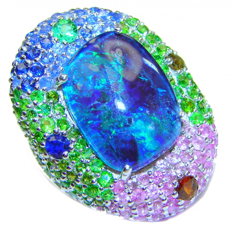 Australian Doublet Opal 24K Gold over .925 Sterling Silver handcrafted ring size 7