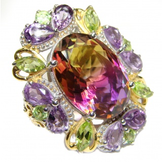 HUGE Oval cut BI-color Ametrine .925 Sterling Silver handcrafted Ring s. 6 1/2