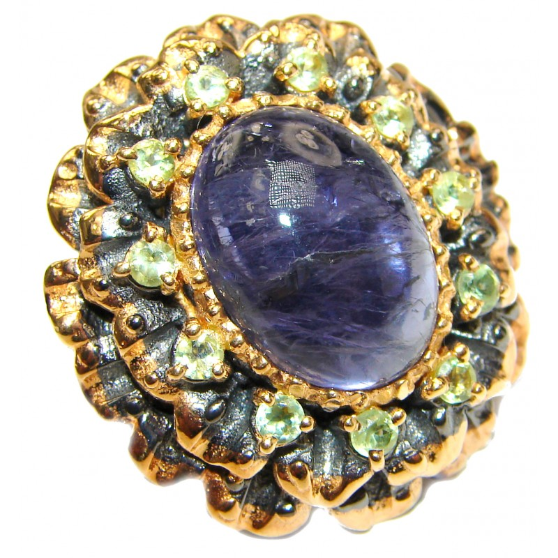 Chunky Authentic Australian Tanzanite 18K Gold over .925 Sterling Silver handmade Ring s. 8
