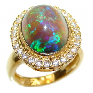 Australian Doublet Opal 24K Gold over .925 Sterling Silver handcrafted ring size 6