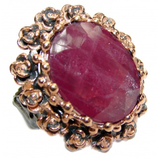 Vintage Beauty genuine Ruby 18K Gold over .925 Sterling Silver Statement Italy made ring; s. 6 1/2