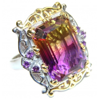 HUGE Emerald cut Ametrine 18K Gold over .925 Sterling Silver handcrafted Ring s. 9