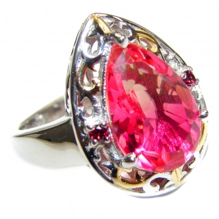 HUGE pear cut Pink Tourmaline 18K Gold over .925 Sterling Silver handcrafted Ring s. 7 3/4