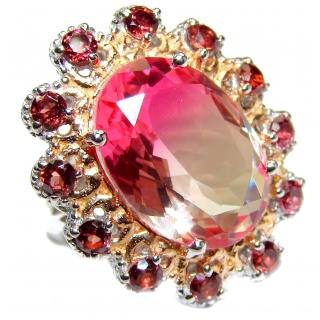 HUGE Top Quality Magic Volcanic Pink Topaz 18K Gold over .925 Sterling Silver handcrafted Ring s. 6