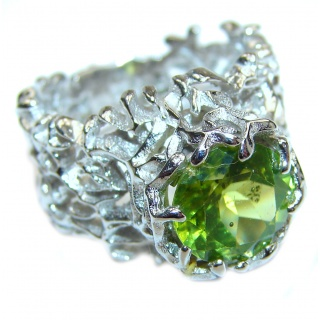 Genuine 20 ctw Peridot .925 Sterling Silver handcrafted Statement Ring size 7