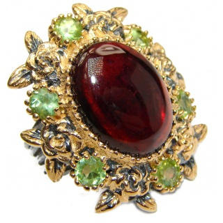 Large Genuine Garnet 24K Gold over .925 Sterling Silver handcrafted Statement Ring size 7