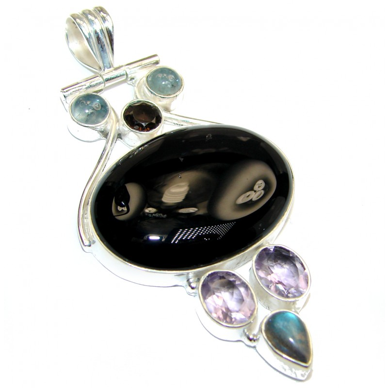 Perfect quality Black Onyx .925 Sterling Silver Handmade Pendant
