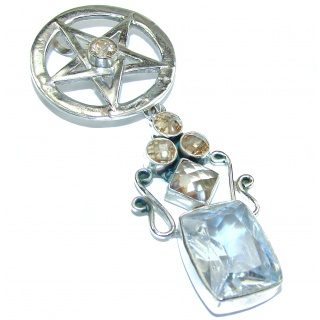 Large Cubic Zirconia .925 Sterling Silver Pendant