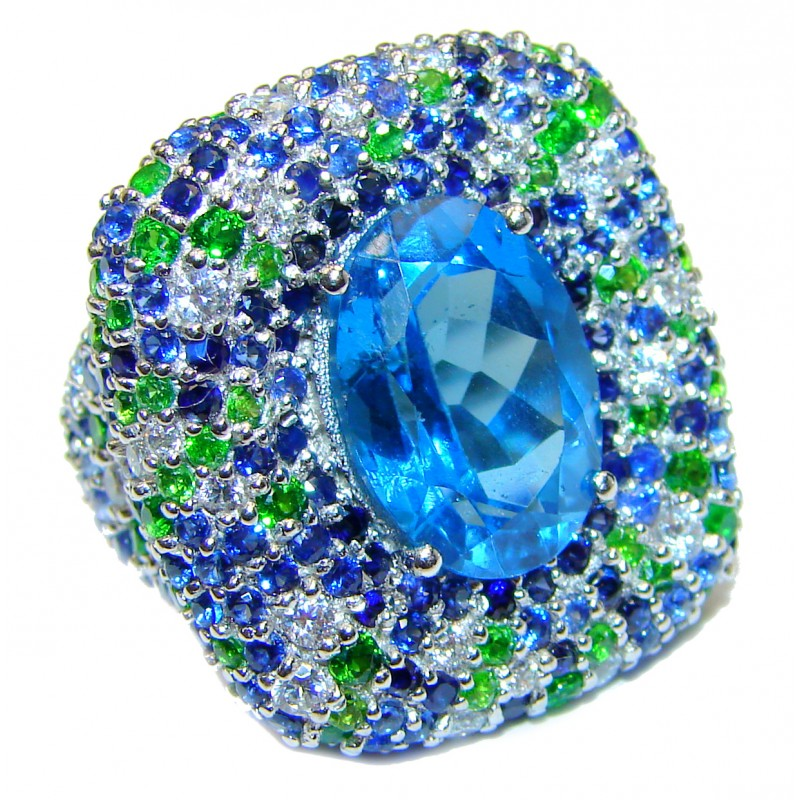 Spectacular Genuine 25ctw Swiss Blue Topaz .925 Sterling Silver handcrafted Statement Ring size 6