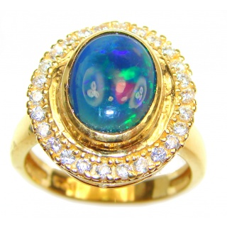 Australian Doublet Opal 24K Gold over .925 Sterling Silver handcrafted ring size 7 3/4