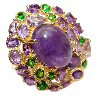 Natural Amethyst Chrome Diopside 18K Gold over .925 Sterling Silver handmade ring s. 8