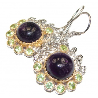 Genuine Amethyst two tones .925 Sterling Silver handmade Earrings