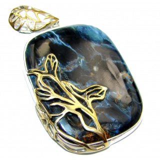 Genuine Silky Pietersite 18K Gold over .925 Sterling Silver handmade pendant