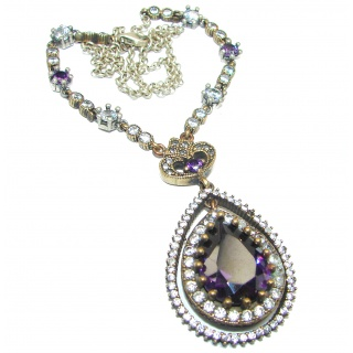 Magic Reef Rainbow created Amethyst .925 Sterling Silver handmade necklace