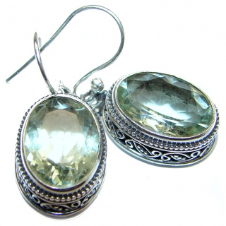 Authentic Green Amethyst .925 Sterling Silver handmade earrings