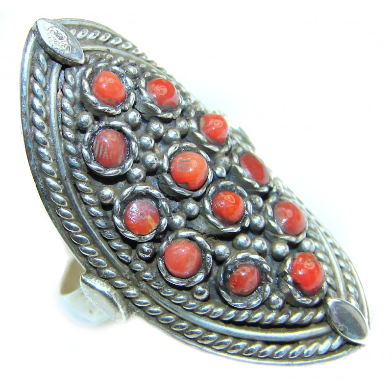Natural Fossilized Coral Turquoise .925 Sterling Silver handmade ring s. 8 3/4
