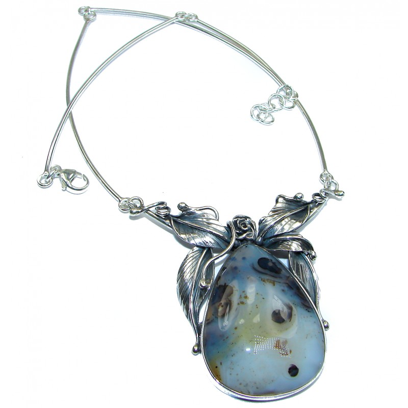 INCREDIBLE- HUGE Floral Design genuine Botswana Agate .925 Sterling Silver handcrafted necklace