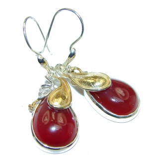 Sublime Orange Carnelian 18K Gold over .925 Sterling Silver handmade earrings