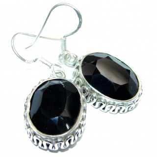 Huge Incredible Onyx .925 Sterling Silver earrings