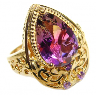 HUGE pear cut Ametrine 18K Gold over .925 Sterling Silver handcrafted Ring s. 7 1/2