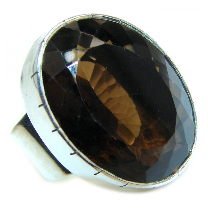 Large Authentic Smoky Topaz .925 Sterling Silver handcrafted ring; s. 8