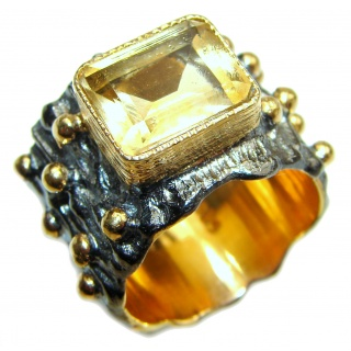 Vintage Style Natural Citrine 18K Gold over .925 Sterling Silver handcrafted Ring s. 7 1/42