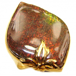 HUGE Genuine Canadian Ammolite 18K Gold over .925 Sterling Silver handmade ring size 7 adjustable