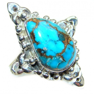 Blue Copper Turquoise .925 Sterling Silver ring; s. 7 1/2