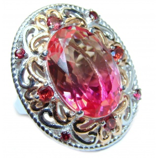 Huge Top Quality Volcanic Pink Tourmaline 18 K Gold over .925 Sterling Silver handcrafted Ring s. 6 1/4
