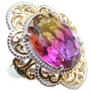 HUGE Oval cut Ametrine 18K Gold over .925 Sterling Silver handcrafted Ring s. 7 1/4