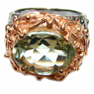 Spectacular Natural Green Amethyst 18K Gold over .925 Sterling Silver handcrafted ring size 9
