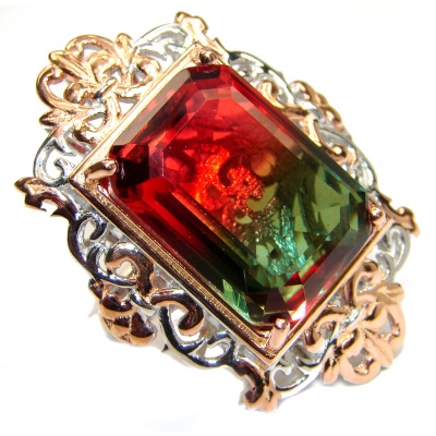 HUGE Emerald cut Watermelon Tourmaline color Topaz 18 K Gold over .925 Sterling Silver handcrafted Ring s. 6 1/2