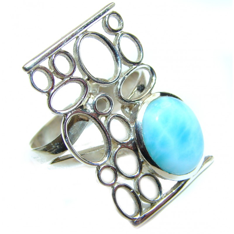 Modern Design Natural Larimar .925 Sterling Silver handcrafted Ring s. 7 adjustable