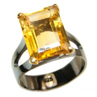 Vintage Style Natural Citrine 18ct Gold Rhodium over .925 Sterling Silver handcrafted Ring s. 8