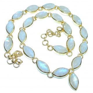 Great Masterpiece genuine Moonstone 18K Gold over .925 Sterling Silver handmade necklace