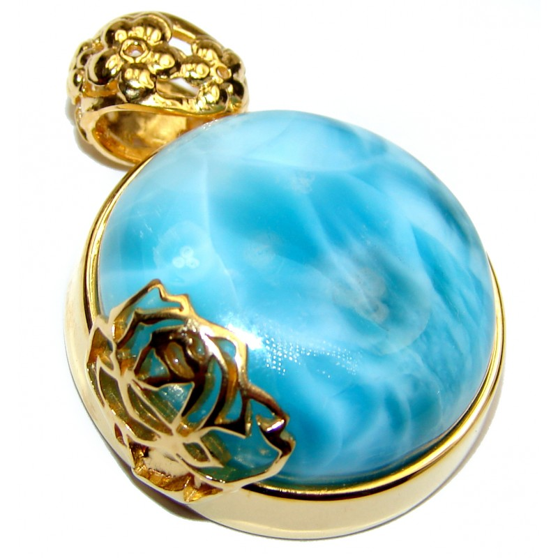My piece of heaven Authentic Caribbean Larimar 18K Gold over .925 Sterling Silver handmade pendant