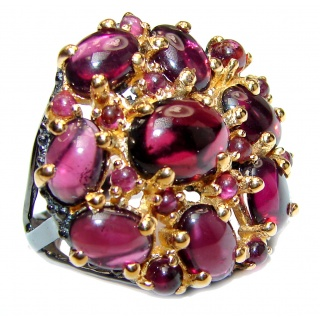 Large Genuine Garnet 24K Gold over .925 Sterling Silver handcrafted Statement Ring size 6 1/4