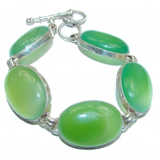 Incredible Genuine Prehnite .925 Sterling Silver handcrafted Bracelet