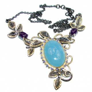 Baroque Style Blue Aquamarine 18 ct Gold over Sterling Silver handcrafted necklace