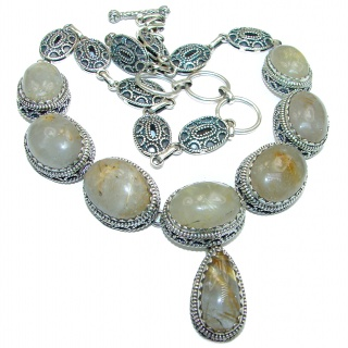 One of the kind Golden Rutilated Quartz .925 Sterling Silver handmade necklace
