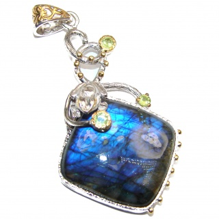 Big Blue Fire Labradorite .925 Sterling Silver handcrafted Pendant