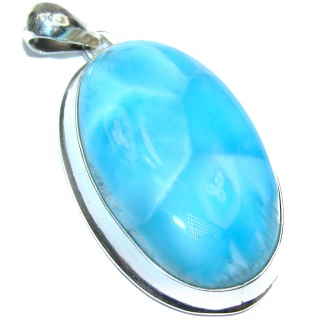 Authentic Caribbean AAAA+ quality Larimar .925 Sterling Silver handmade pendant