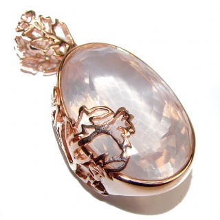 Perfect faceted Rose Quartz 24K Rose Gold over .925 Sterling Silver handmade pendant