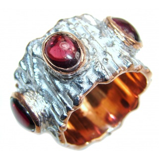 Genuine 27 ct Garnet 18ct Gold Rhodium over .925 Sterling Silver handmade Cocktail Ring s. 8