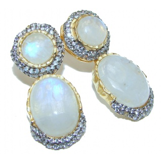 Genuine Rainbow Moonstone 18K Gold over .925 Sterling Silver handcrafted stud Earrings