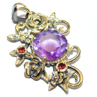 Floral design Amethyst 18K Gold over .925 Sterling Silver handcrafted pendant