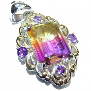 Spectacular Royal Ametrine 18K Gold over .925 Sterling Silver handmade Pendant
